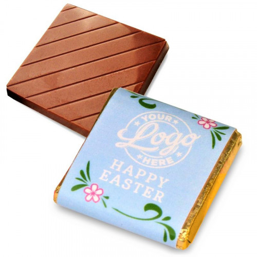 Personalised Milk Chocolate Neapolitans Wrapped in Gold Foil Finished with a Blue Themed Happy Easter Flower Design Wrapper
