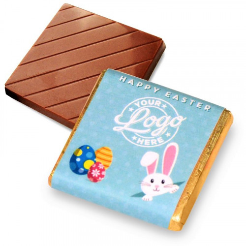 Personalised Milk Chocolate Neapolitans Wrapped in Gold Foil Finished with a Blue Themed Happy Easter Peaking White Rabbit Design Wrapper