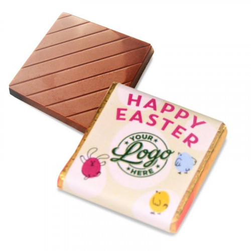 Personalised Milk Chocolate Neapolitans Wrapped in Gold Foil Finished with a Green Themed Happy Easter Bunnies & Chick Design Wrapper
