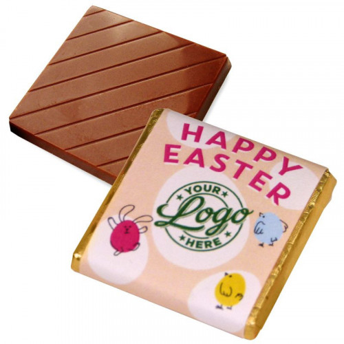 Personalised Milk Chocolate Neapolitans Wrapped in Gold Foil Finished with a Peach Themed Happy Easter Bunnies & Chick Design Wrapper