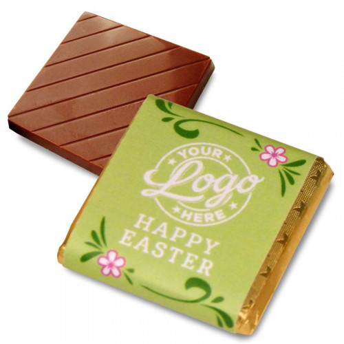 Personalised Milk Chocolate Neapolitans Wrapped in Gold Foil Finished with a GreenThemed Happy Easter Flower Design Wrapper