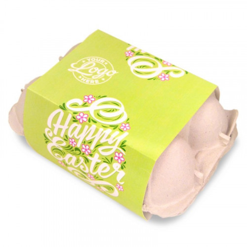 Personalised Egg Carton 6 Milk Chocolate Hen Eggs Wrapped in Gold Foil Finished with a Beautiful Green Themed Happy Easter Flower Design Sleeve