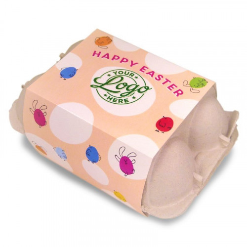 Personalised Egg Carton 6 Milk Chocolate Hen Eggs Wrapped in Gold Foil Finished with a Peach Themed Happy Easter Bunnies & Chick Design Sleeve