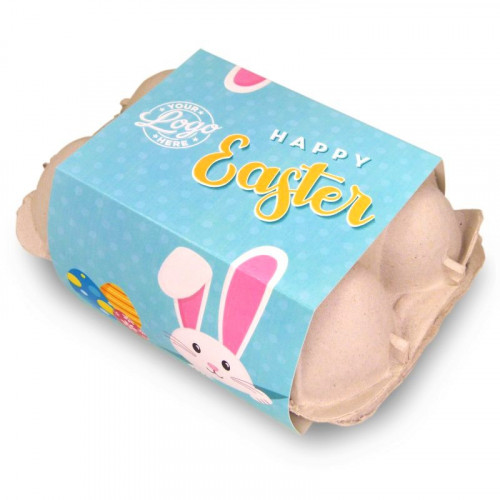 Personalised Egg Carton 6 Milk Chocolate Hen Eggs Wrapped in Gold Foil Finished with a Blue Themed Happy Easter Peaking White Rabbit Design Sleeve