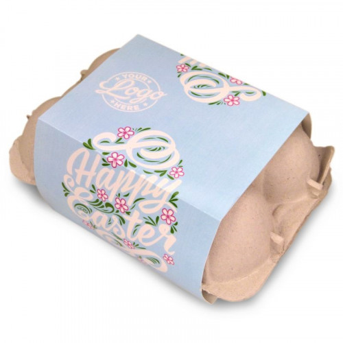 Personalised Egg Carton 6 Milk Chocolate Hen Eggs Wrapped in Gold Foil Finished with a Beautiful Blue Themed Happy Easter Flower Design Sleeve