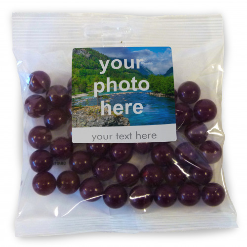 Heritage & Souvenir Gifts - Euro Slot Hang Bag Finished with a White Label with a Photograph & Text of your Choice - Aniseed Balls 100g