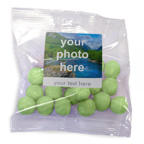 Heritage & Souvenir Gifts - Euro Slot Hang Bag Finished with a White Label with a Photograph & Text of your Choice - Apple BonBons 100g