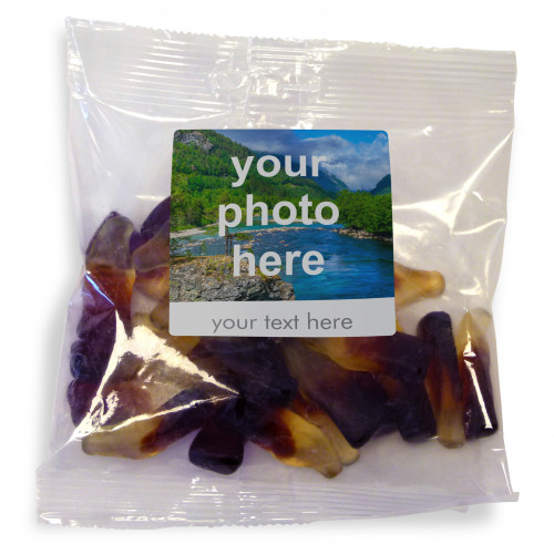 Heritage & Souvenir Gifts - Euro Slot Hang Bag Finished with a White Label with a Photograph & Text of your Choice - Cola Bottles 100g
