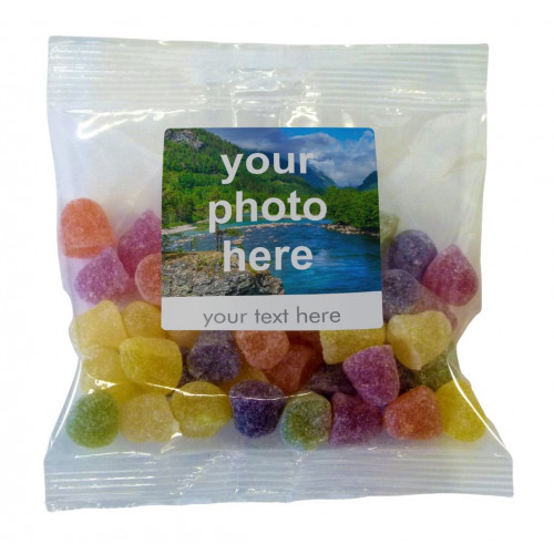 Heritage & Souvenir Gifts - Euro Slot Hang Bag Finished with a White Label with a Photograph & Text of your Choice - Dew Drops 100g