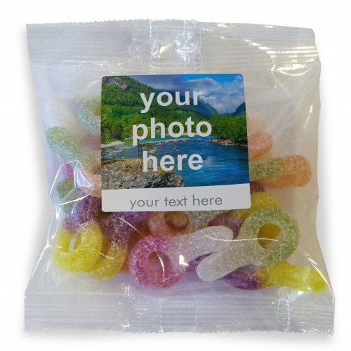 Heritage & Souvenir Gifts - Euro Slot Hang Bag Finished with a White Label with a Photograph & Text of your Choice - Fizzy Dummies 100g