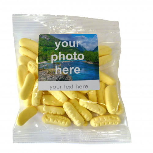 Heritage & Souvenir Gifts - Euro Slot Hang Bag Finished with a White Label with a Photograph & Text of your Choice - Foam Bananas 100g