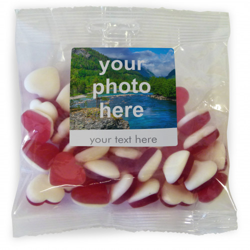 Heritage & Souvenir Gifts - Euro Slot Hang Bag Finished with a White Label with a Photograph & Text of your Choice - Heart Sweets 100g