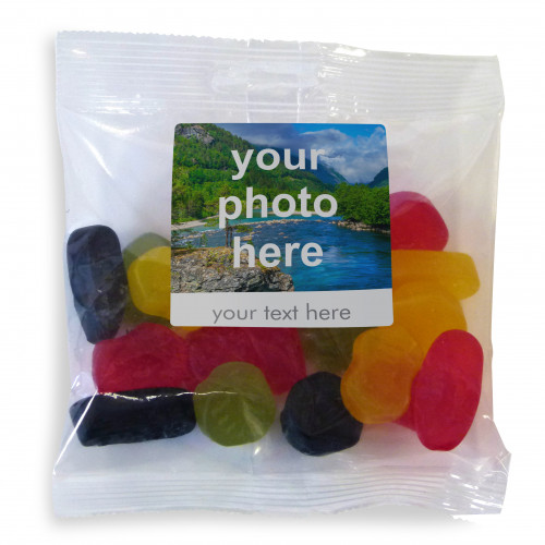 Heritage & Souvenir Gifts - Euro Slot Hang Bag Finished with a White Label with a Photograph & Text of your Choice - Wine Gums 100g