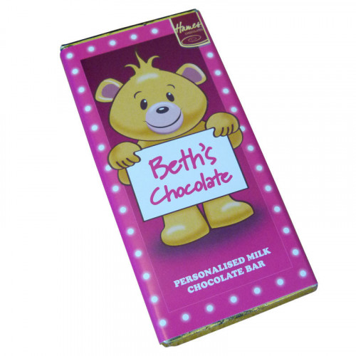 Sentiment - Personal 80g Milk Chocolate Name Bar - Beth  x Outer of 6