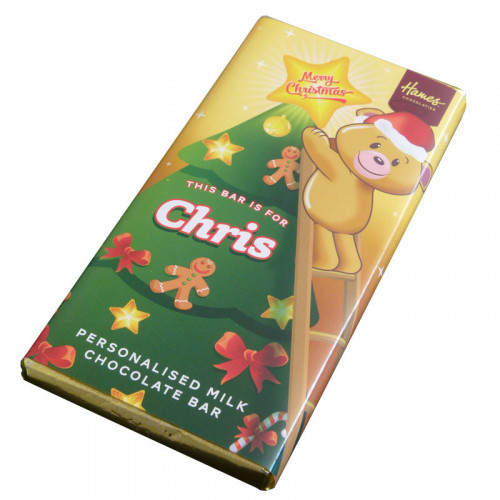 Sentiment - Xmas Personal 80g Milk Chocolate Name Bar - Chris x Outer of 6