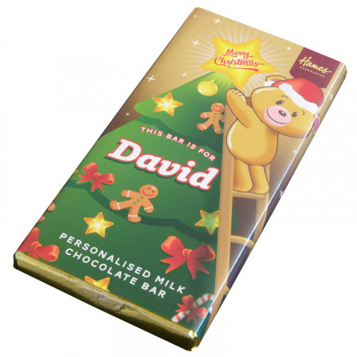 Sentiment - Xmas Personal 80g Milk Chocolate Name Bar - David x Outer of 6