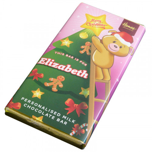 Sentiment - Xmas Personal 80g Milk Chocolate Name Bar - Elizabeth x Outer of 6