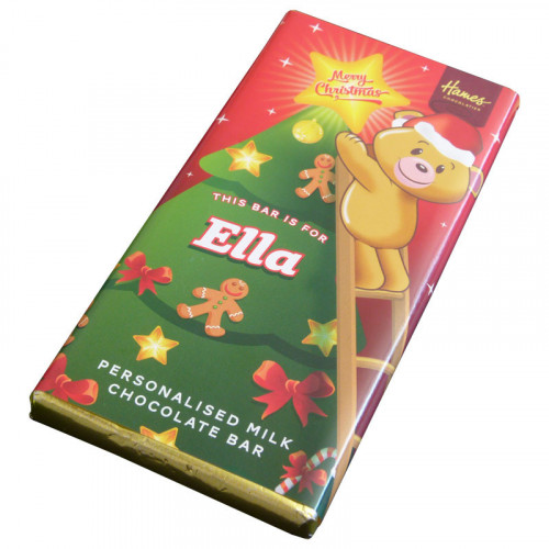 Sentiment - Xmas Personal 80g Milk Chocolate Name Bar - Ella x Outer of 6