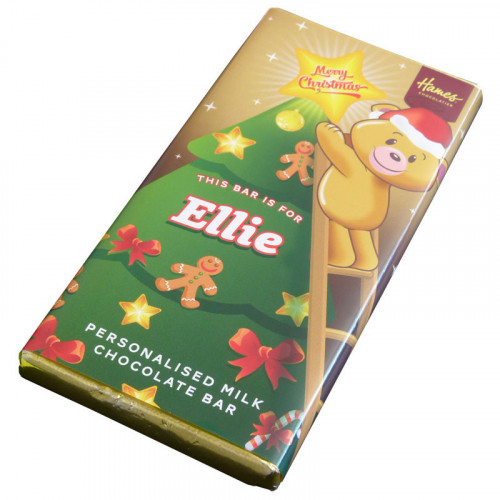 Sentiment - Xmas Personal 80g Milk Chocolate Name Bar - Ellie x Outer of 6