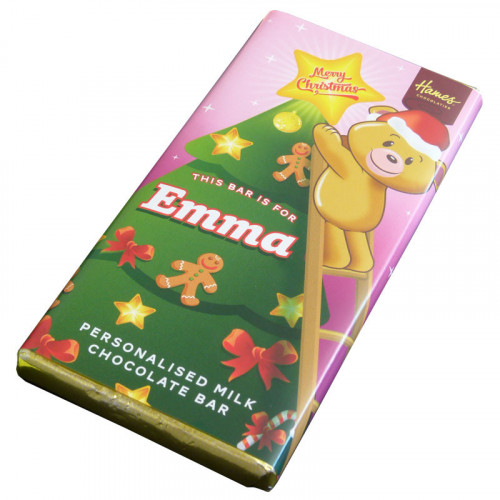 Sentiment - Xmas Personal 80g Milk Chocolate Name Bar - Emma x Outer of 6