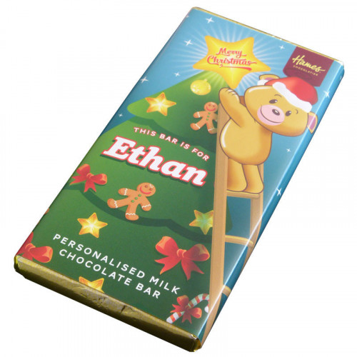 Sentiment - Xmas Personal 80g Milk Chocolate Name Bar - Ethan x Outer of 6