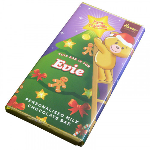 Sentiment - Xmas Personal 80g Milk Chocolate Name Bar - Evie x Outer of 6