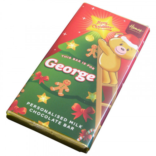 Sentiment - Xmas Personal 80g Milk Chocolate Name Bar - George x Outer of 6