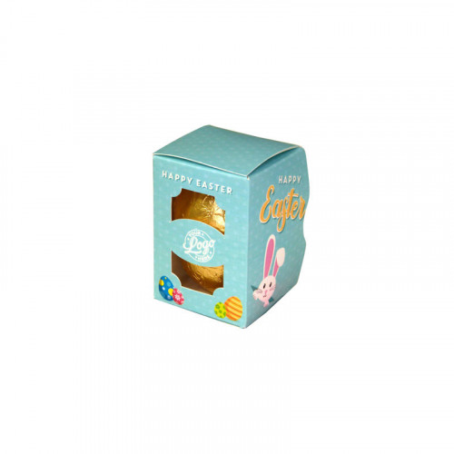 Personalised Egg Box with a 25g Milk Chocolate Egg Wrapped in Gold Foil Finished with a Blue Themed Happy Easter Peaking White Rabbit Design