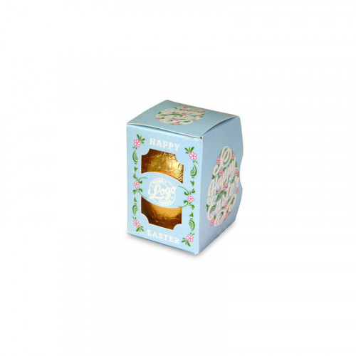 Personalised Egg Box with a 25g Milk Chocolate Egg Wrapped in Gold Foil Finished with a Beautiful Blue Themed Happy Easter Flower Design