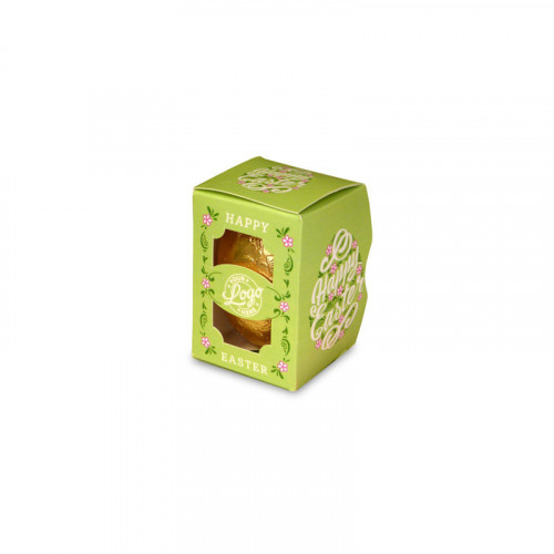Personalised Egg Box with a 25g Milk Chocolate Egg Wrapped in Gold Foil Finished with a Beautiful Green Themed Happy Easter Flower Design