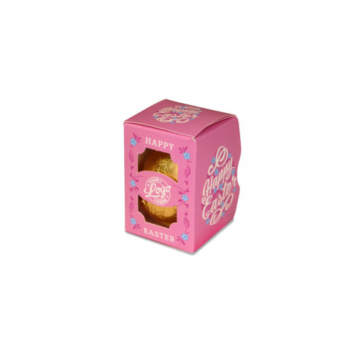Personalised Egg Box with a 25g Milk Chocolate Egg Wrapped in Gold Foil Finished with a Beautiful Pink Themed Happy Easter Flower Design