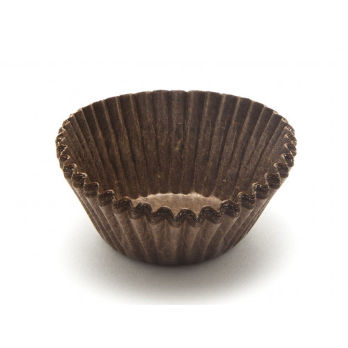 Elegant Petit Four Crimped Glassine Paper Case in Brown 25mm x 19mm