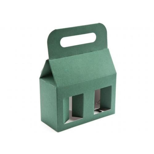 Elegant Green Texture-Embossed Matt Finish 2x12oz Jar Carrier with Display Window (Self Assembly)