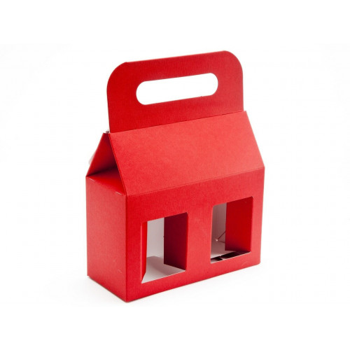 Elegant Red Texture-Embossed Matt Finish 2x12oz Jar Carrier with Display Window (Self Assembly)
