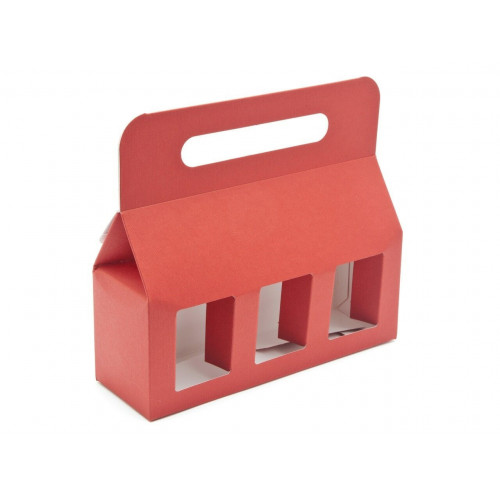 Elegant Red Texture-Embossed Matt Finish 3x8oz Jar Carrier with Display Window (Self Assembly)