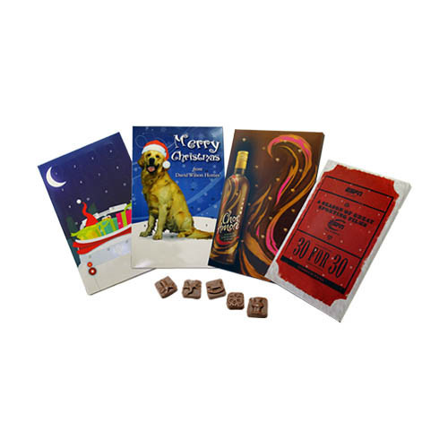 Promotional Branded Advent – Milk Chocolate Christmas Shapes (Foil Tray) Full Size 24 Door Calendar Full Colour Litho Print With Your Design