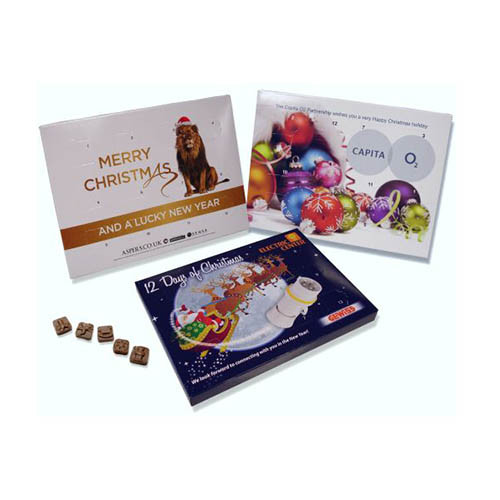 Promotional Branded Advent – Milk Chocolate Christmas Shapes (Foil Tray) Desktop 24 Door Calendar Full Colour Litho Print With Your Design