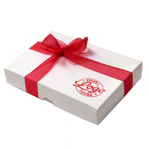 Promotional - 12 Chocolate Assortment Presented in a White Box With Any Full Colour Digital Printed Logo on the Lid Finished with a Beautiful Red Hand Tied Bow