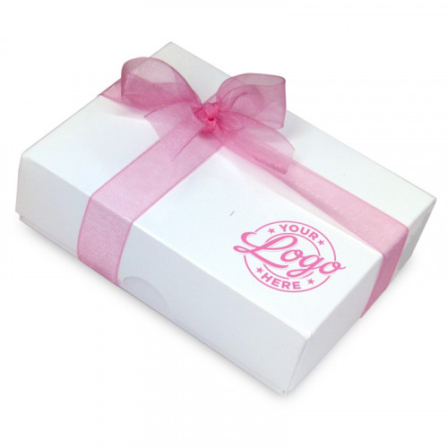 Promotional - 6 Chocolate Assortment Presented in a White Box with Any Full Colour Digital Printed Logo on the Lid Finished with a Beautiful Dusty Rose Hand Tied Bow