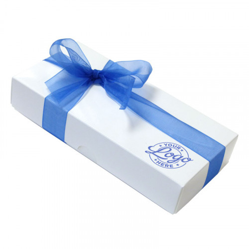 Promotional - 8 Chocolate Assortment Presented in a White Box with Any Full Colour Digital Printed Logo on the Lid Finished with a Beautiful Royal Blue Hand Tied Bow