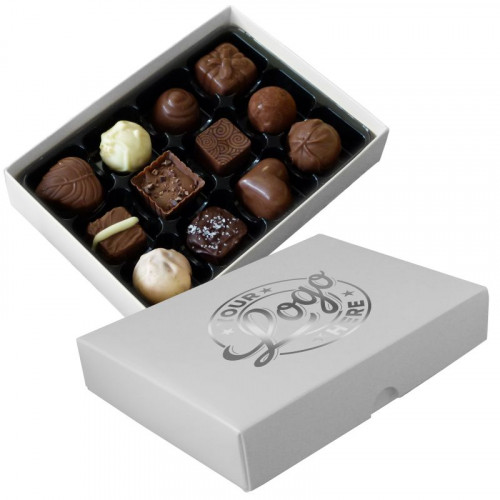 Promotional - 12 Chocolate Assortment Presented in a White Box Finished With a Single Bright Silver Colour Foil Print on Lid