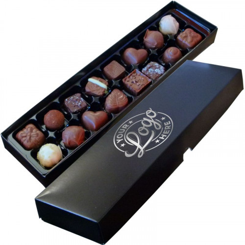 Promotional - 16 Chocolate Assortment Presented in a Black Box Finished With a Single Colour Foil Print on Lid