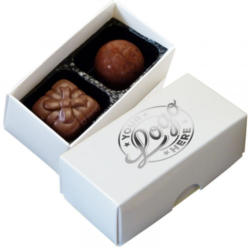 Promotional - 2 Chocolate Assortment Presented in a White Box Finished with a Single Colour Foil Print
