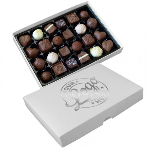 Promotional - 24 Chocolate Assortment Presented in a White Box Finished With a Single Colour Foil Print on Lid