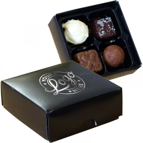 Promotional - 4 Chocolate Assortment Presented in a Black Box Finished with a Single Colour Foil Print