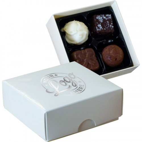 Promotional - 4 Chocolate Assortment Presented in a White Box Finished with a Single Colour Foil Print