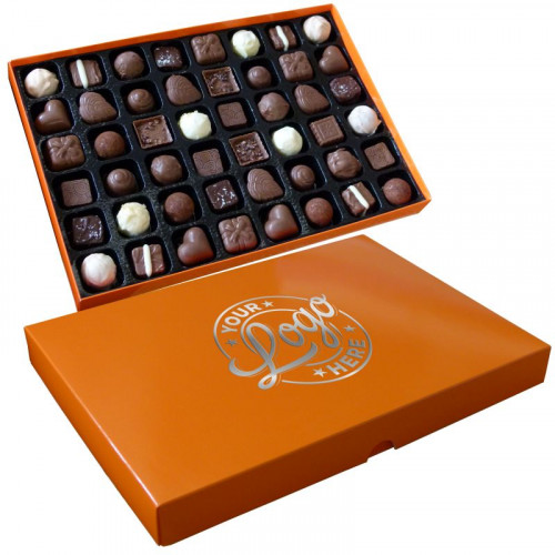 Promotional - 48 Chocolate Assortment Presented in a Orange Box Finished With a Single Colour Foil Print on Lid