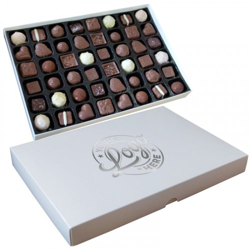 Promotional - 48 Chocolate Assortment Presented in a White Box Finished With a Single Colour Foil Print on Lid