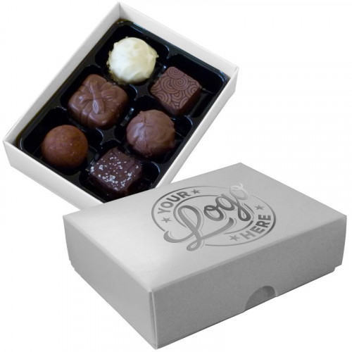Promotional - 6 Chocolate Assortment Presented in a White Box Finished with a Single Colour Foil Print