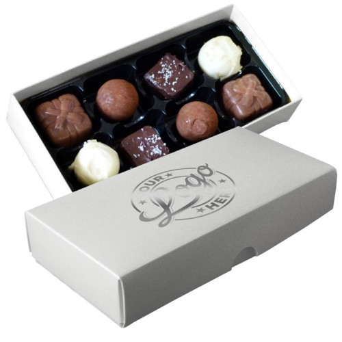 Promotional - 8 Chocolate Assortment Presented in a White Box Finished With a Single Bright Silver Colour Foil Print on Lid